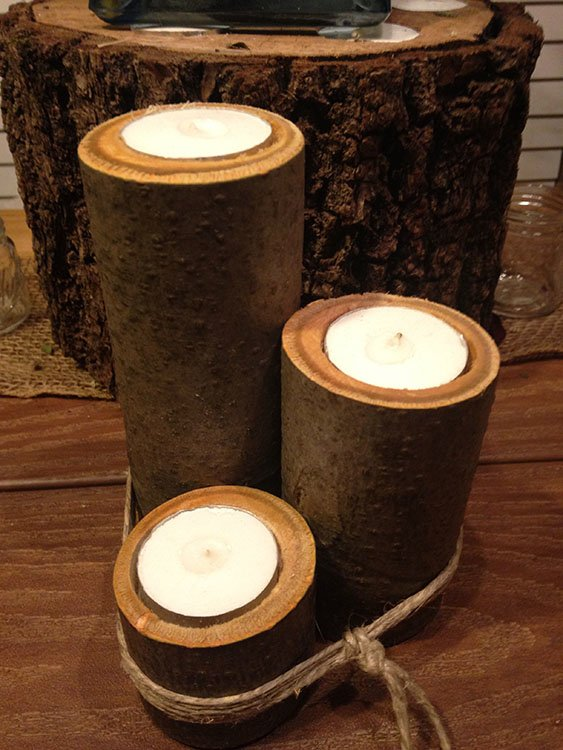 Natural Wood Tea Candle Holders Pistol Pete 39 S