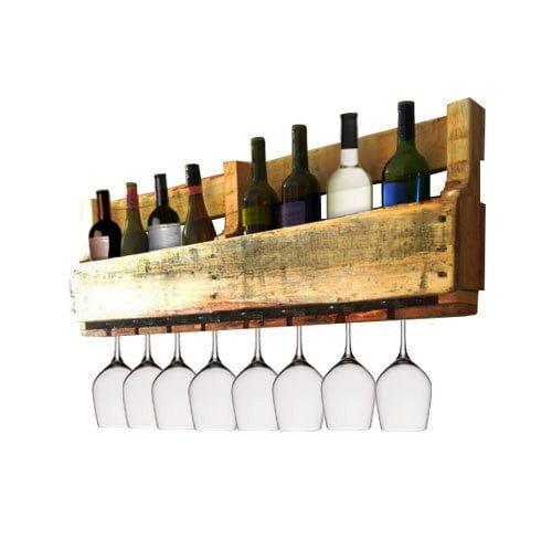 Wood pallet wine rack pistol pete 39 s for Porte verre de bar