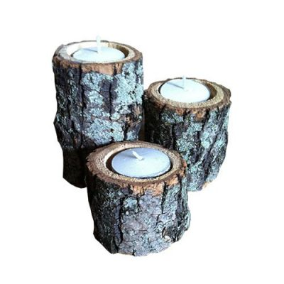 wood tea candle holders