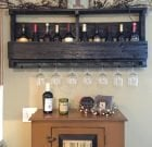 Pallet Wine Rack with Top Shelf and Lettering
