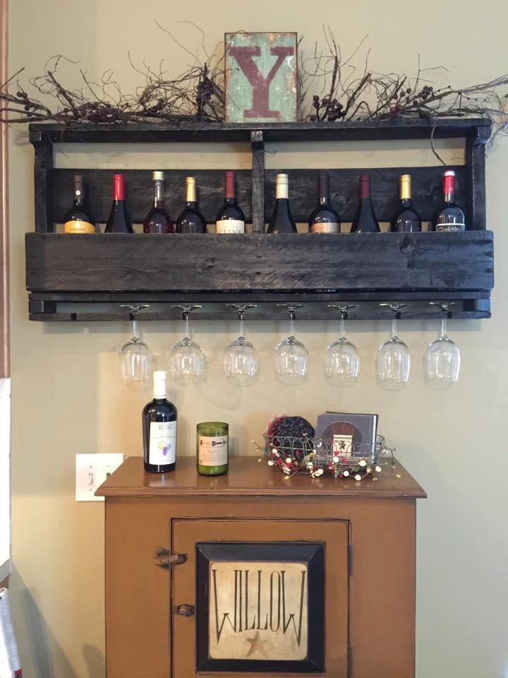 Pallet Wine Rack With Top Shelf And Lettering Pistol Pete S